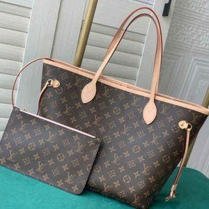 💎✨AUTHENTIC✨💎LOUISVUITTON Neverfull MM Monogram Pink Inside Totes